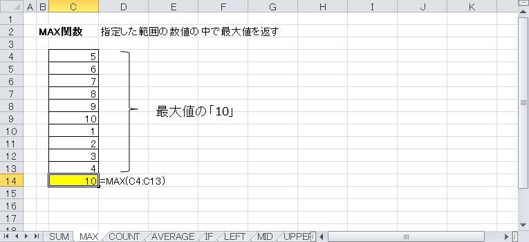 MAX関数を使って最大値を表示