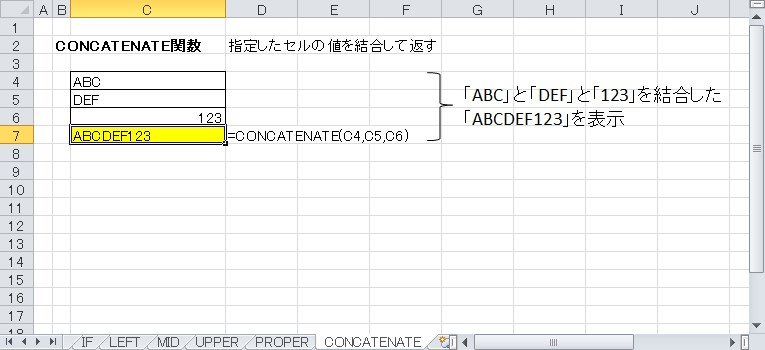 CONCATENATE関数を使って文字を結合して表示