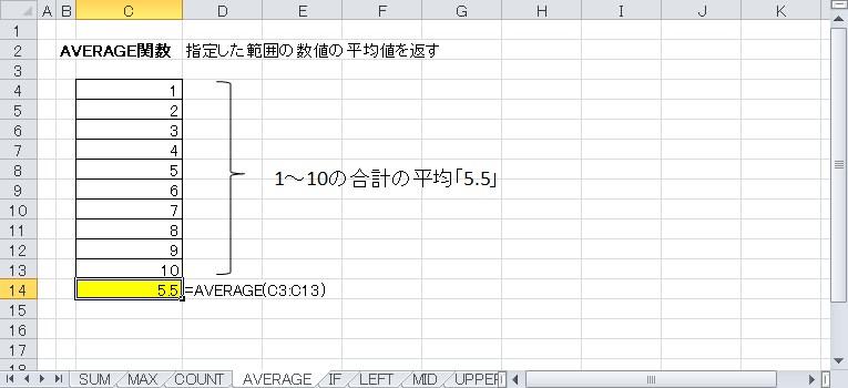 AVERAGE関数を使って平均値を表示