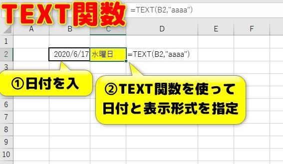 TEXT関数で曜日を表示!表示形式の指定が可能