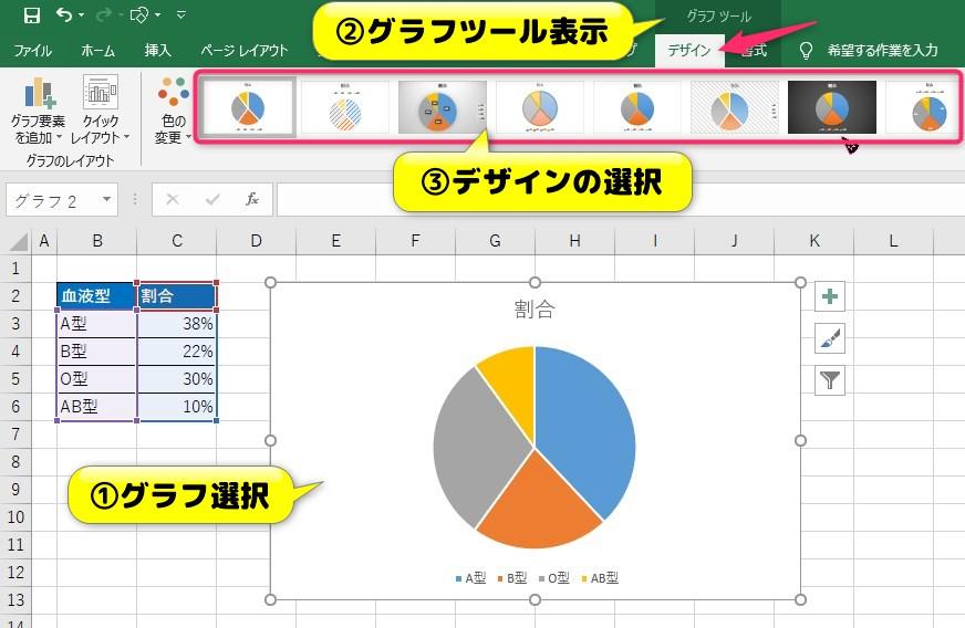 円グラフエリアのデザイン設定