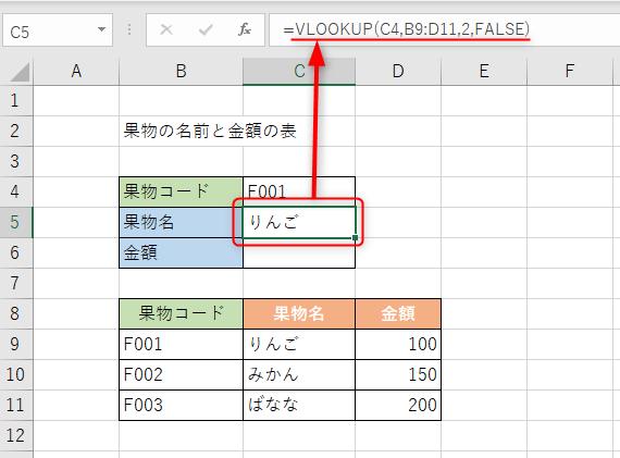 VLOOKUP関数を使うことで、「F001」に対する果物名「りんご」が表示されました。